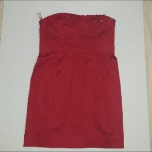 Free People Strapless Ruby Red Dress Size 6